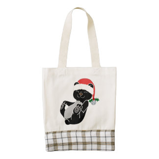 Christmas Black Bear with Santa Hat & Jingle Bell Zazzle HEART Tote Bag