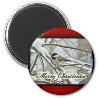 Christmas Black Capped Chickadee in Snow Magnet