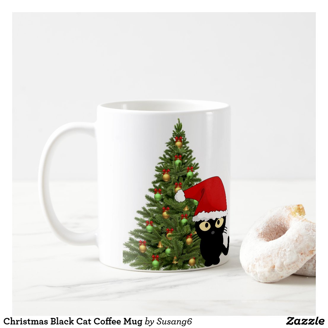 Christmas Black Cat Coffee Mug