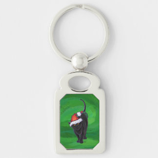 Christmas Black Cat on Green Silver-Colored Rectangular Metal Keychain
