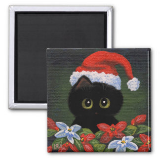 Christmas Black Cat Santa Claus Funny Creationarts Magnet