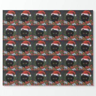 Christmas Black Cat Santa Claus Funny Creationarts Wrapping Paper