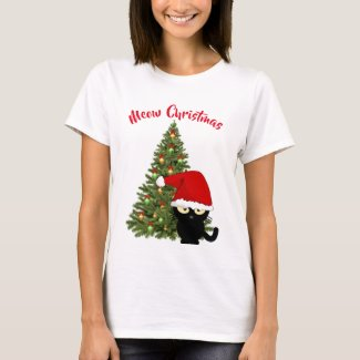 Christmas Black Cat T-Shirt