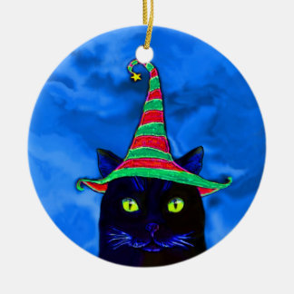 Christmas Black Cat with a Hat Ornament