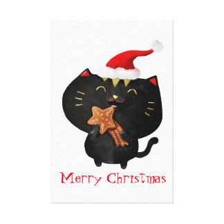Christmas Black Cute Cat Canvas Print