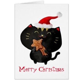 Christmas Black Cute Cat Card