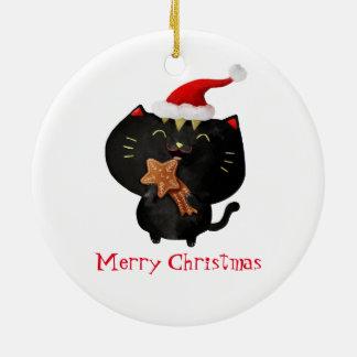 Christmas Black Cute Cat Ceramic Ornament