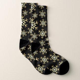Christmas black gold snowflake pattern socks