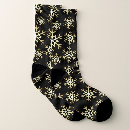 Christmas black gold snowflake pattern socks