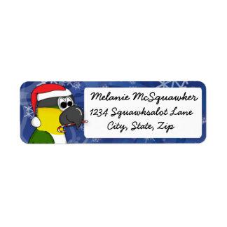 Christmas Black Headed Caique Return Address Label