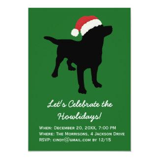 Christmas Black Lab Dog wearing Santa Claus Hat 5x7 Paper Invitation Card