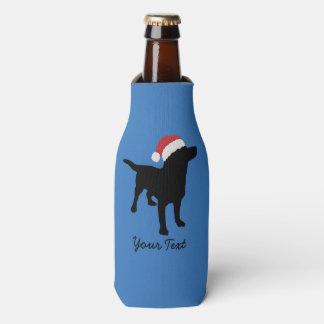 Christmas Black Lab Dog wearing Santa Claus Hat Bottle Cooler