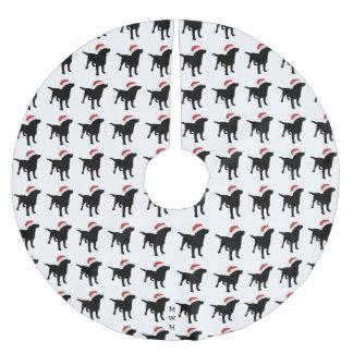 Christmas Black Lab Dog wearing Santa Claus Hat Brushed Polyester Tree Skirt