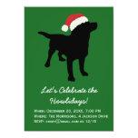 Christmas Black Lab Dog wearing Santa Claus Hat Card