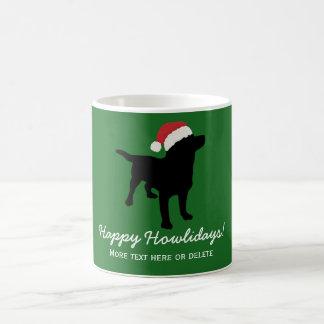 Christmas Black Lab Dog wearing Santa Claus Hat Coffee Mug