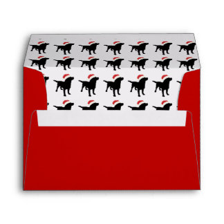 Christmas Black Lab Dog wearing Santa Claus Hat Envelope