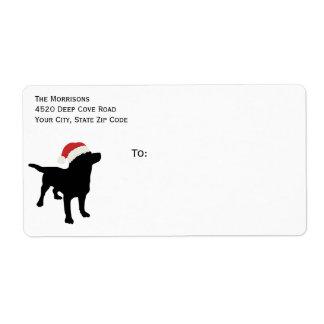 Christmas Black Lab Dog wearing Santa Claus Hat Label