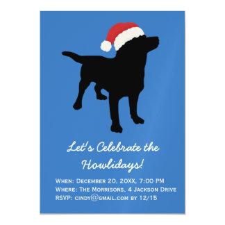 Christmas Black Lab Dog wearing Santa Claus Hat Magnetic Invitations
