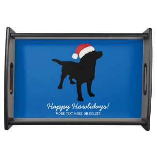 Christmas Black Lab Dog wearing Santa Claus Hat Serving Tray