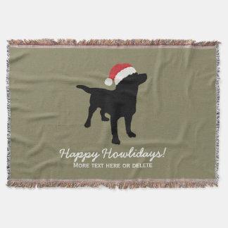 Christmas Black Lab Dog wearing Santa Claus Hat Throw Blanket