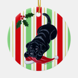 Christmas Black Lab Puppy Santa Hat Ceramic Ornament