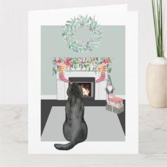 Christmas Black Labrador Dog Fireplace Scene Card