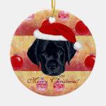 Christmas Black Labrador Puppy Ceramic Ornament