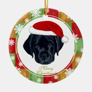 Christmas Black Labrador Puppy Mosaic Christmas Tree Ornament