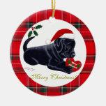 Christmas Black Labrador Puppy Santa Hat Double-Sided Ceramic Round Christmas Ornament