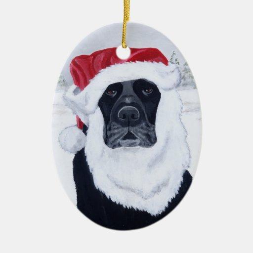 Christmas Black Labrador Santa Double-Sided Oval Ceramic Christmas Ornament