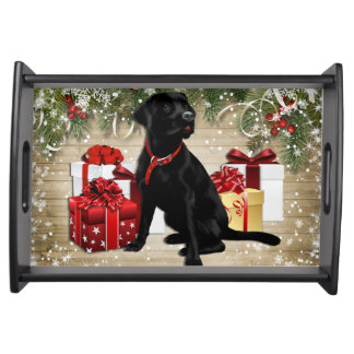 CHRISTMAS BLACK LABRADOR SERVING TRAY