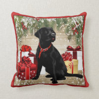 CHRISTMAS BLACK LABRADOR THROW PILLOW