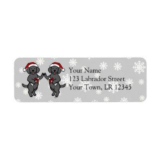 Christmas Black Labradors Cartoon Label