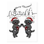 Christmas Black Labradors Cartoon Postcards