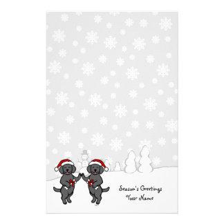Christmas Black Labradors Cartoon Stationery Design