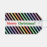 [ Thumbnail: Christmas; Black & Pastel Color Lines Pattern Gift Tags ]