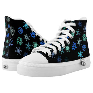 Christmas Black Snowflakes Flurry Pattern High-Top Sneakers