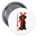 Christmas Black Toy Poodle Dog Dressed as Reindeer Button