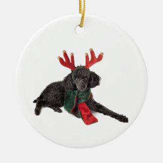 Christmas Black Toy Poodle Dog Dressed as Reindeer Ceramic Ornament