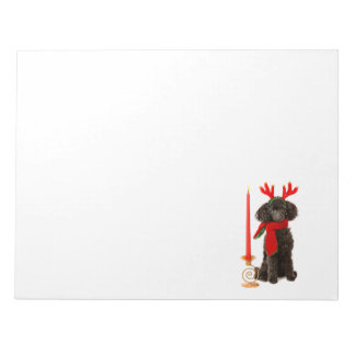 Christmas Black Toy Poodle Dog Dressed as Reindeer Notepad
