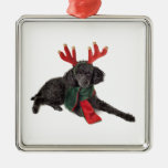 Christmas Black Toy Poodle Dog Dressed as Reindeer Square Metal Christmas Ornament