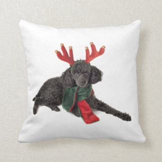 Christmas Black Toy Poodle Dog Dressed as Reindeer Pillow