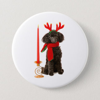 Christmas Black Toy Poodle Dog Dressed as Reindeer Pinback Button
