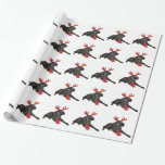 Christmas Black Toy Poodle Dog Dressed as Reindeer Gift Wrapping Paper
