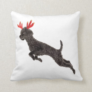 Christmas Black Toy Poodle Dog Reindeer Antlers Throw Pillow