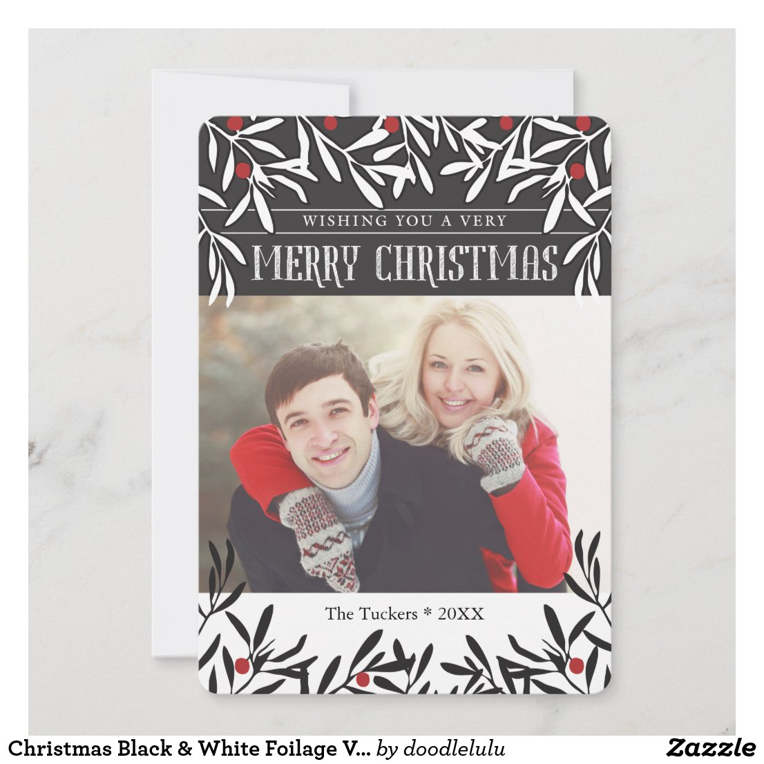 Christmas Black & White Foilage Vertical Holiday Card