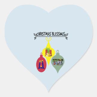 Christmas Blessing Heart Sticker