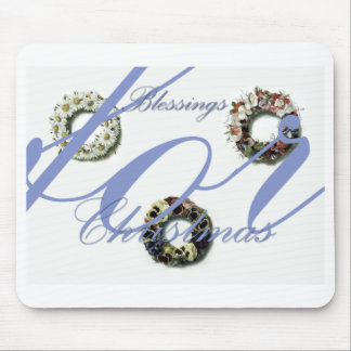 Christmas Blessing wreath artwork Mouse Pad