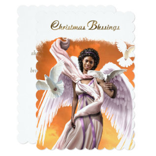 Christmas Blessings Afro Angel Flat Christmas Card at Zazzle