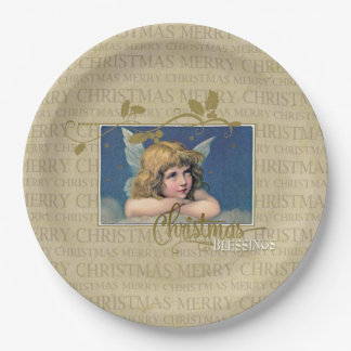 Christmas Blessings Angel Paper Plate